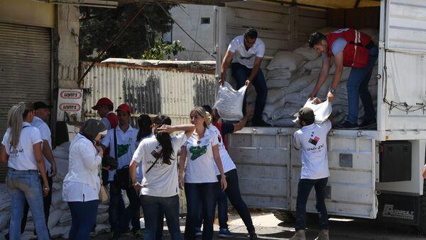 Ładunek z pomocą humanitarną dla mieszkańców Damaszku - Sputnik Polska