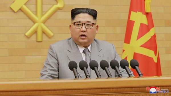 Przywódca KRLD Kim Dzong Un podczas noworocznego przemówienia do obywateli - Sputnik Polska