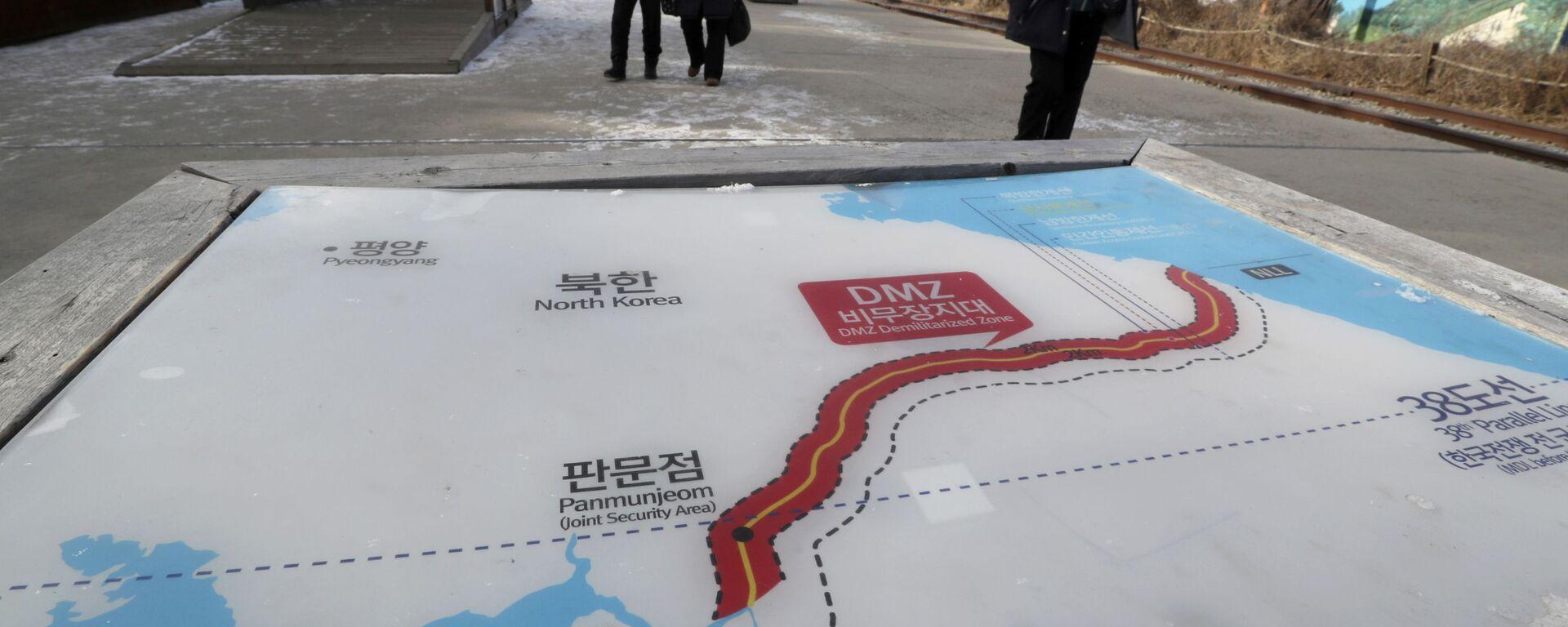 Mapa Korei Północnej i Korei Południowej w parku Imjingak w Paju - Sputnik Polska, 1920, 21.09.2021