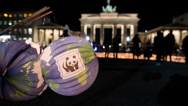 Papierowe latarnie z logo WWF w pobliżu Bramy Brandenburskiej w Berlinie - Sputnik Polska