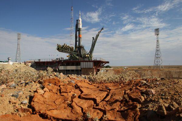Rakieta Sojuz na kosmodromie Bajkonur w Kazachstanie - Sputnik Polska