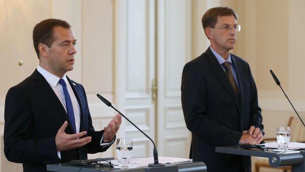 Premier Rosji Dmitrij Miedwiediew i premier Słowenii Miroslav Cerar na wspólnej konferencji prasowej po rosyjsko-słoweńskich rozmowach. - Sputnik Polska