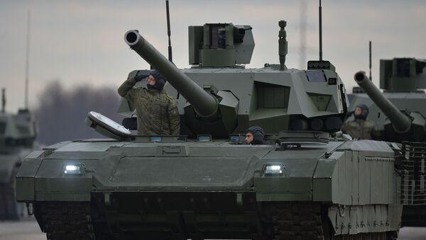 Czołgi Armata zmechanizowanej kolumny wojskowej - Sputnik Polska