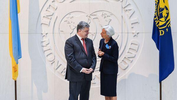 Prezydent Ukrainy Petro Poroszenko i szefowa Międzynarodowego Funduszu Walutowego Christine Lagarde - Sputnik Polska