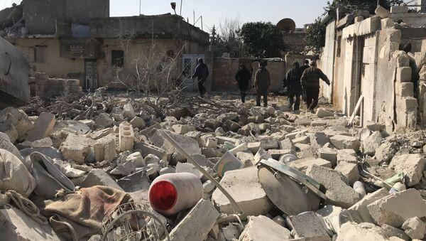 Skutki tureckich nalotów w syryjskim regionie Afrin - Sputnik Polska