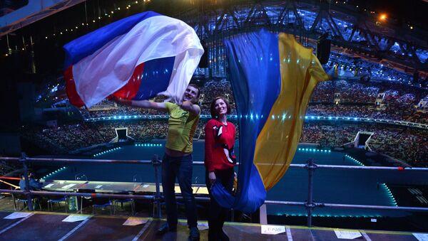 Rosyjska i ukraińska flaga - Sputnik Polska
