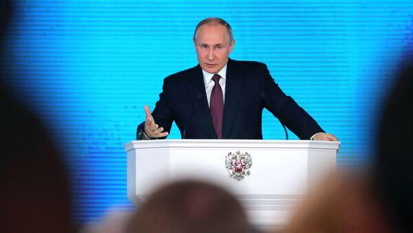 Prezydent FR Władimir Putin występuje na forum Zgromadzenia Federalnego - Sputnik Polska