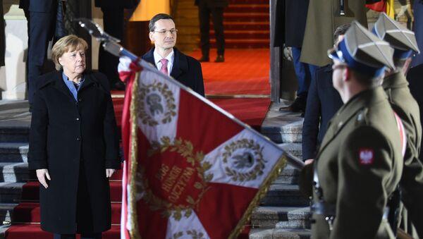 Angela Merkel i Mateusz Morawiecki w Warszawie - Sputnik Polska