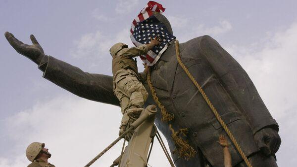 Demontaż pomnika Saddama Husseina w Bagdadzie, Irak - Sputnik Polska