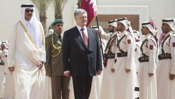 Prezydent Ukrainy Petro Poroszenko w czasie wizyty w Katarze - Sputnik Polska