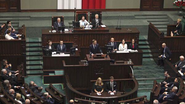Prezydent Polski Andrzej Dudа zwraca się do parlamentu po ceremonii zaprzysiężenia w Warszawie - Sputnik Polska