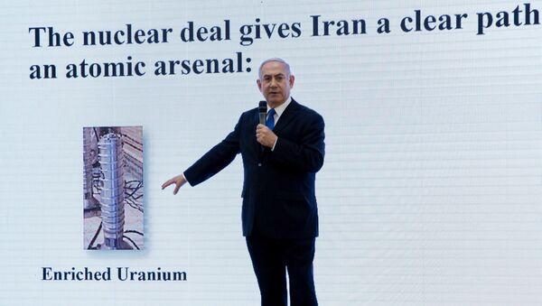 Premier Izraela Benjamin Netanjahu na wystąpieniu w sprawie irańskiego programu nuklearnego Iranu w Ministerstwie Obrony w Tel Awiwie - Sputnik Polska