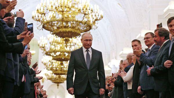 Prezydent Rosji Władimir Putin w czasie uroczystości inauguracji na Kremlu - Sputnik Polska