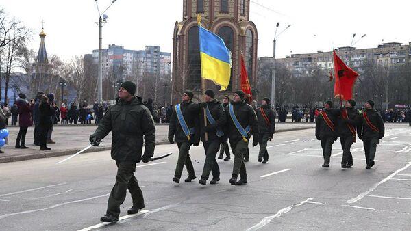 Wojskowi Gwardii Narodowej Ukrainy podczas uroczystości z okazji rocznicy wyzwolenia miasta Krzywy Róg - Sputnik Polska