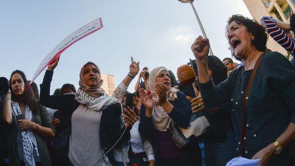 Protesty przeciwko przeniesieniu ambasady USA z Tel Awiwu do Jerozolimy - Sputnik Polska