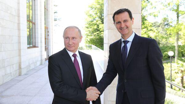 Prezydent Federacji Rosyjskiej Władimir Putin i prezydent Syryjskiej Republiki Arabskiej Baszar al-Assad w Soczi - Sputnik Polska