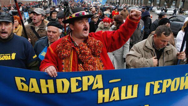 Podczas marszu nacjonalistów na cześć rocznicy Ukraińskiej Powstańczej Armii, który odbył się w Kijowie - Sputnik Polska