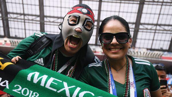 Kibice przed rozpoczęciem meczu fazy grupowej Mistrzostw Świata w Piłce Nożnej pomiędzy reprezentacjami Niemiec i Meksyku - Sputnik Polska