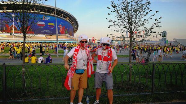 Polscy kibice w Kazaniu przed meczem Polski z Kolumbią na MŚ 2018 - Sputnik Polska
