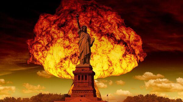 Wybuch jądrowy na tle Statui Wolności w Nowym Jorku - Sputnik Polska
