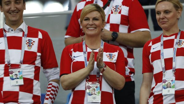 Президент Хорватии Колинда Грабар-Китарович во время матча сборных Дании и Хорватии в Нижнем Новгороде - Sputnik Polska