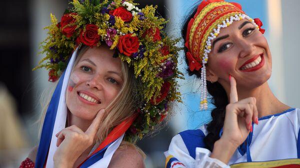 Kibice reprezentacji Rosji przed rozpoczęciem meczu ćwierćfinału mistrzostw świata w piłce nożnej między reprezentacją Rosji i Chorwacji  - Sputnik Polska