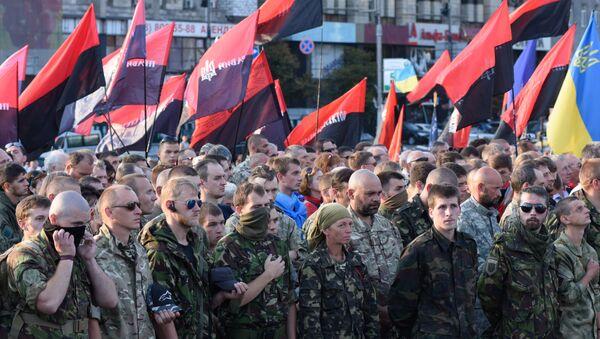 Uczestniczy Wiecu Ludowego Prawy Sektor w Kijowie - Sputnik Polska