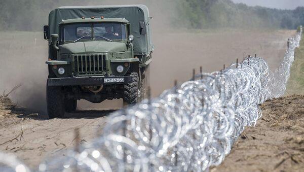 Węgierska ciężarówka przejeżdża wzdłuż granicy z Serbią - Sputnik Polska