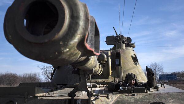 Ukraińska samobieżna instalacja artyleryjska na wschodzie Ukrainy. Zdjęcie archiwalne - Sputnik Polska