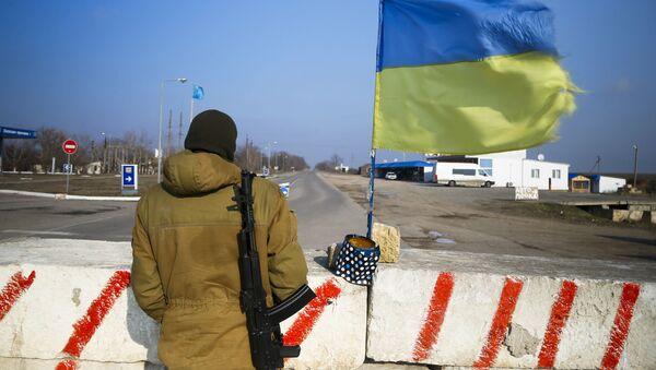 Punkt kontrolny w wiosce Czongar na granicy Ukrainy i Krymu. Zdjęcie archiwalne - Sputnik Polska