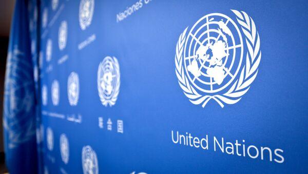Logotyp ONZ w siedzibie ONZ - Sputnik Polska