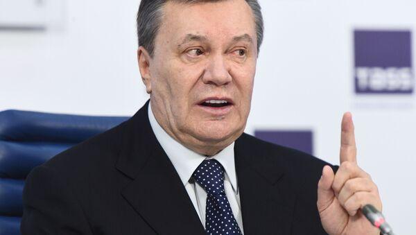 Były prezydent Ukrainy Wiktor Janukowycz na konferencji prasowej w Moskwie - Sputnik Polska
