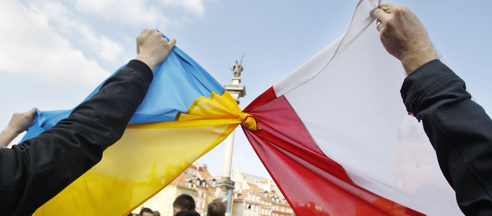 Flagi Polski i Ukrainy - Sputnik Polska, 1920, 21.04.2021