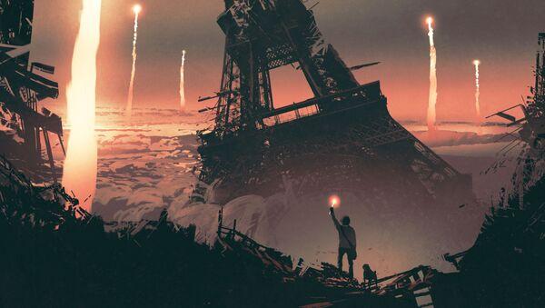 Apokaliptyczny obraz na tle wieży Eiffla - Sputnik Polska