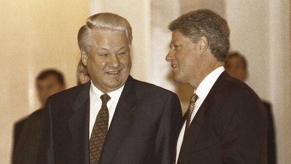 Prezydent Rosji Boris Jelcyn i prezydent USA Bill Clinton w czasie spotkania na Kremlu - Sputnik Polska
