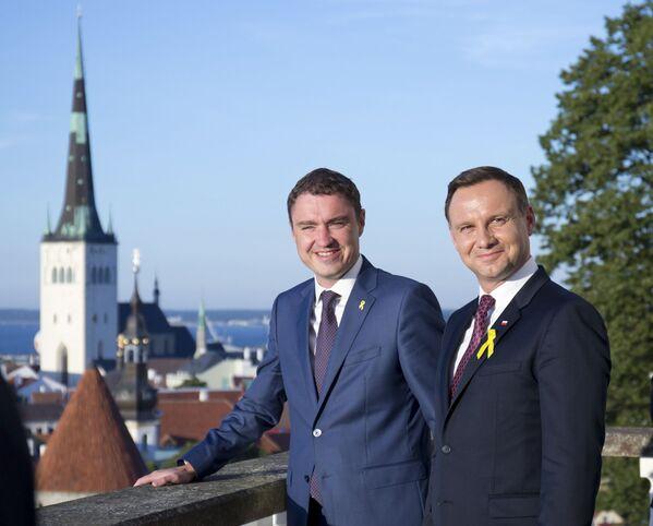 Premier Estonii Taavi Rõivas i prezydent Polski Andrzej Duda podczas spotkania w  Tallinie - Sputnik Polska