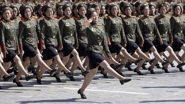 Parada z okazji 70. rocznicy utworzenia KRLD w Pjongjangu - Sputnik Polska