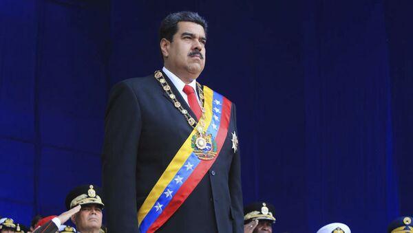 Prezydent Wenezueli Nicolas Maduro na defiladzie wojskowej w Caracas - Sputnik Polska