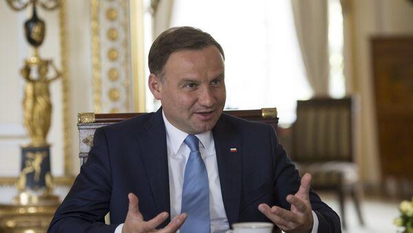 Prezydent Polski Andrzej Duda podczas wywiadu - Sputnik Polska