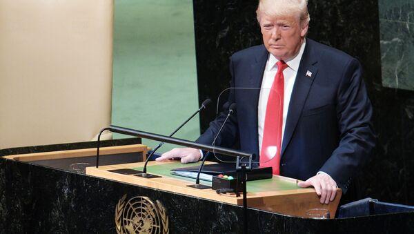 Prezydent USA Donald Trump występuje na Zgromadzeniu Ogólnym ONZ w Nowym Jorku - Sputnik Polska