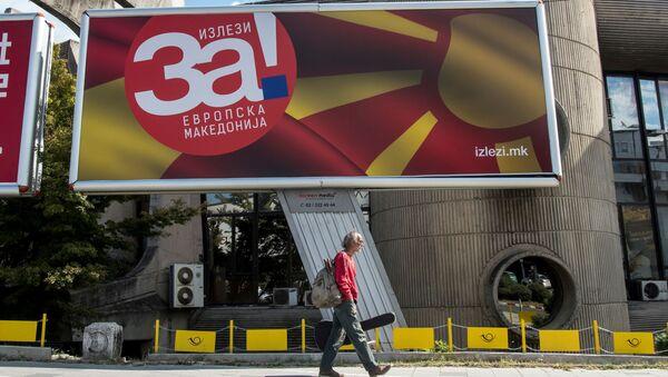 Plakat o referendum w Macedonii - Sputnik Polska
