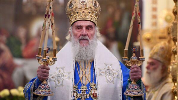 Patriarcha Serbii Ireneusz w czasie liturgii - Sputnik Polska
