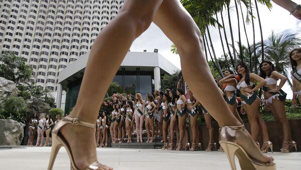 """Sesja zdjęciowa kandydatek do tytułu """"Miss Earth"""" w Manili na Filipinach. Zdjęcie archiwalne - Sputnik Polska"""