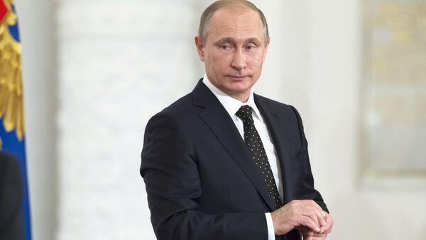 Prezydent Rosji Władimir Putin na uroczystości wręczenie nagród państwowych w Dużym Pałacu Kremlowskim - Sputnik Polska