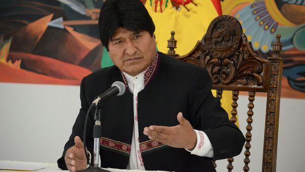 Prezydent Boliwii Evo Morales na konferencji prasowej - Sputnik Polska