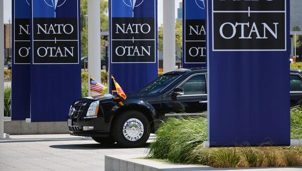 Samochód prezydenta USA Donalda Trumpa na szczycie szefów państw i szefów rządów państw członkowskich NATO przy kwaterze głównej NATO w Brukseli - Sputnik Polska