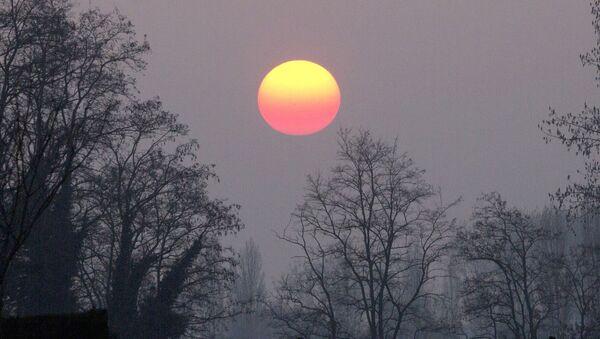 Słońce widoczne przez mgłę i smog - Sputnik Polska