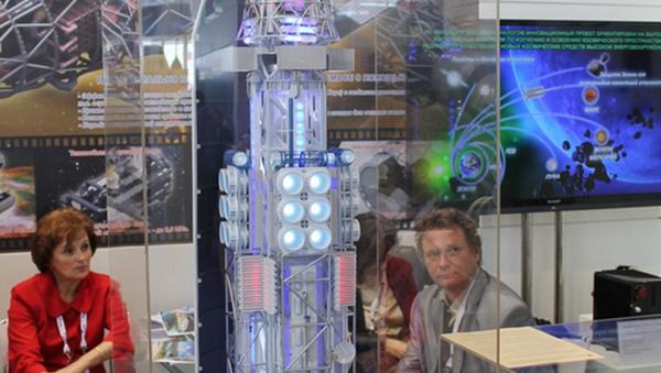 Model jądrowego układu napędowego w składzie modułu transportowo-energetycznego na wystawie - Sputnik Polska