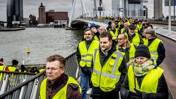Protest żółtych kamizelek w Rotterdamie - Sputnik Polska