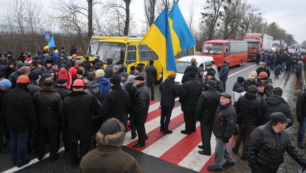 Akcja protestu górników Lwowugol w obwodzie lwowskim - Sputnik Polska